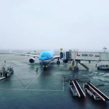 KLM vliegtuig terug naar Schiphol vanuit Vancouver Airport